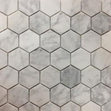 Carrara Hexagon Honed Marble Mosaic 48x48
